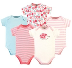 Touched by Nature Baby Boy and Girl Organic Cotton Bodysuits, 5 Pack