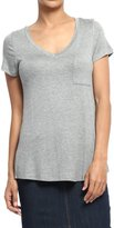 TheMogan Women's Easy Plain Short Sleeve V-Neck Pocket T-Shirts L