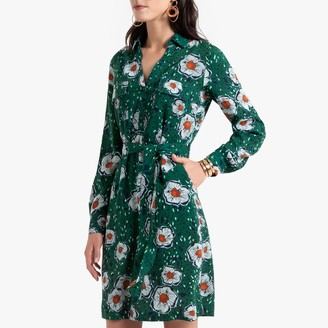 Anne Weyburn Floral Print Shirt Dress with Tie-Waist