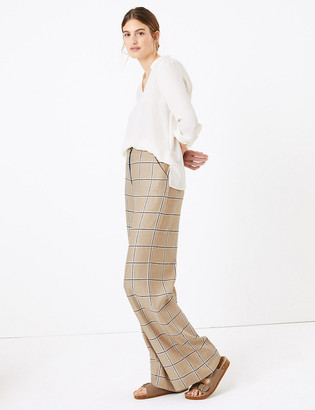 Marks and Spencer Linen Rich Checked Wide Leg Trousers