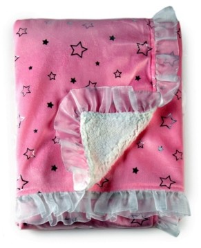 Tadpoles Silver Star Double Layer Plush Baby Girl Blanket with Ruffle Trim Bedding