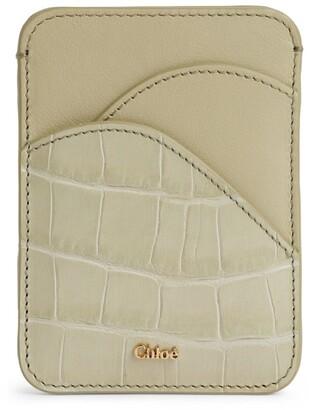 Chloé Leather Croc-Embossed Card Holder