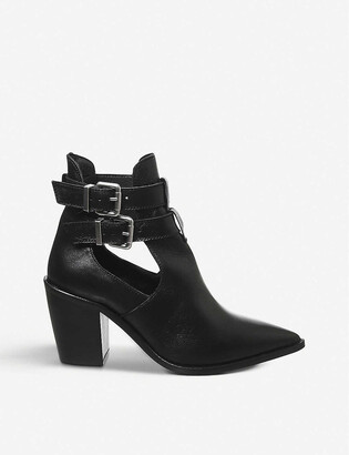 Office Amanda western block heel leather boots