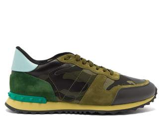 Valentino Rockrunner Camouflage Low Top Leather Trainers - Mens - Dark Green