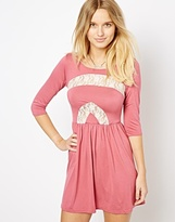 Love Skater Dress with Lace Inserts - Pink