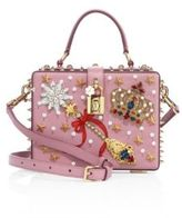 Dolce & Gabbana Miss Dolce Crown-Embellished Leather Top-Handle Bag