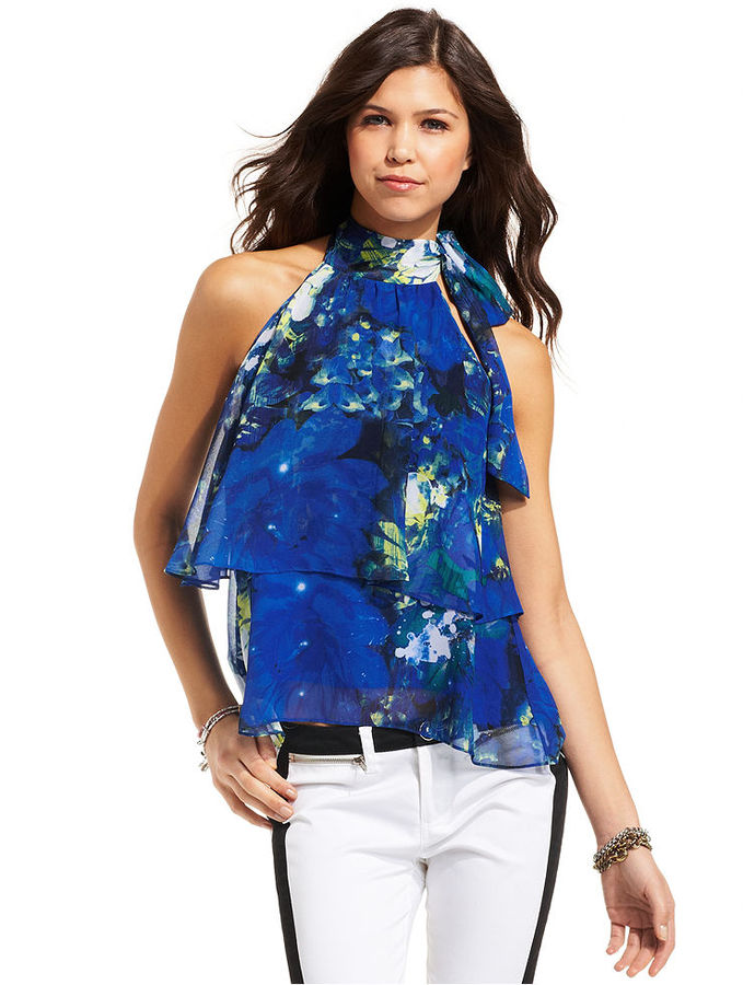 XOXO Juniors Top, Sleeveless Tiered Floral-Print