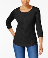 Karen Scott Petite Cotton Lace Henley Top, Created for Macy's