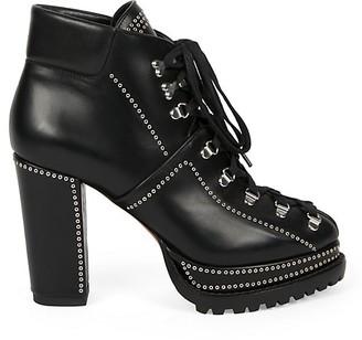 Alaia Grommet Leather Platform Combat Boots