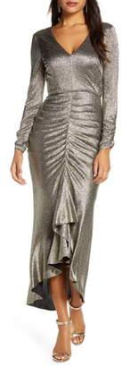 Eliza J Metallic Long Sleeve High/Low Gown