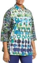 Marina Rinaldi Biscotto Watercolor Geo Print Blouse