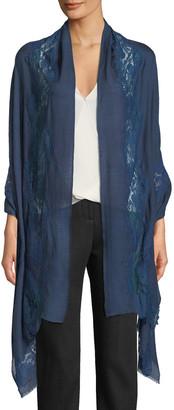 Bindya Accessories Blue Tonal Turn Lace-Trim Stole