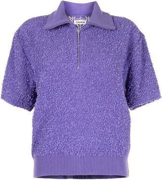 Coohem Textured Knit Zip-Front Top