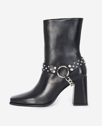 The Kooples Heeled black boots, leather w/removable jewel