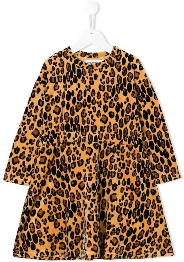 Mini Rodini leopard-print velour dress