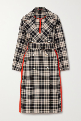 Mother of Pearl Belted Double-breasted Checked Organic Cotton-twill Coat - Orange