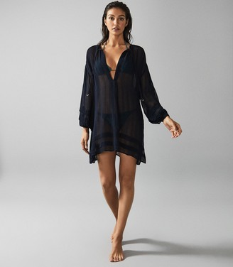 Reiss LOURDES SEMI-SHEER STRIPED KAFTAN Navy