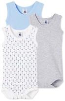 Petit Bateau Pack of 3 baby boy sleeveless bodysuits