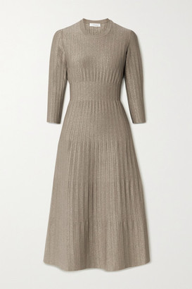 CASASOLA Metallic Ribbed-knit Midi Dress - Mushroom