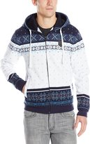 Southpole Men's Hooded Full Zip Fleece with All Over Nordic Patterns