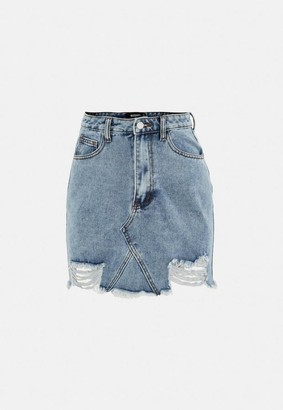 Missguided Petite Blue Distressed Hem Denim Mini Skirt