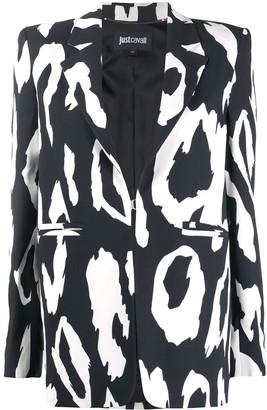 Just Cavalli Leopard-Print Fitted Blazer