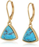 Kenneth Cole New York Geometric Semiprecious Turquoise Stone Drop Earrings