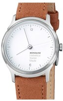 Mondaine 'Helvetica No.1 Light' Round Leather Strap Watch, 26mm