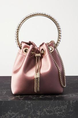Jimmy Choo Bon Bon Crystal-embellished Satin Bucket Bag - Pink