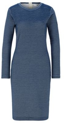 BOSS Bodycon dress in two-tone structured ottoman fabric