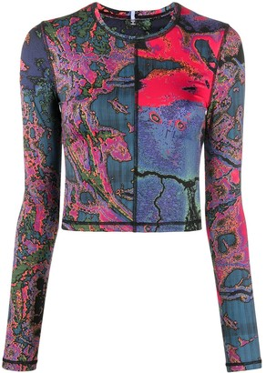 McQ Long-Sleeved Floral Print Jersey Top