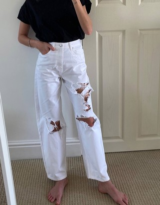 ASOS DESIGN high rise 'relaxed' dad jeans with extreme rips in white