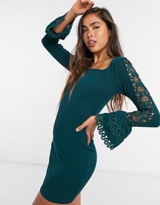 Girl In Mind fluted sleeve mini dress in green