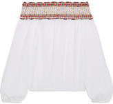 Tory Burch Sylvia Off-the-shoulder Embroidered Cotton-muslin Top - White