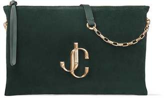 Jimmy Choo VARENNE SHOULDER/S Dark Green Suede Shoulder Bag with JC Logo