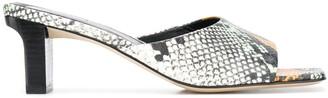AEYDĒ Katti 65mm snakeskin-effect sandals