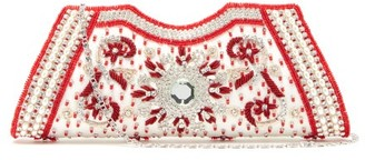 Shrimps Dallas Crystal, Faux-pearl And Beaded Satin Clutch - Cream Multi