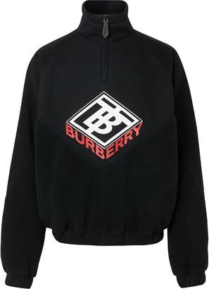 Burberry Logo Graphic Neoprene Funnel Neck Track Top