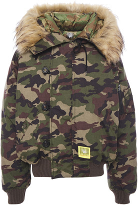 R 13 Faux Fur-trimmed Canvas Hooded Down Jacket