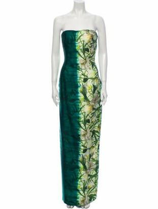 Oscar de la Renta Floral Print Long Dress Green