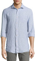 Jachs NY Button-Front Linen Shirt, Blue