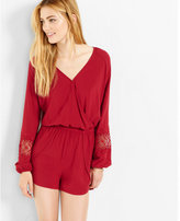 Express surplice lace inset long sleeve romper
