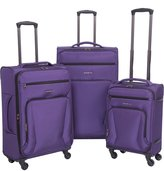 Renwick Lightweight 3 Piece Spinner Carry On and Suitcase Luggage Set Purple