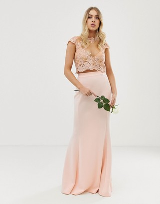 Club L London bridesmaid applique embroidery detail crop top-Pink