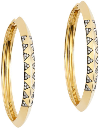 Harwell Godfrey Knife Edge Pave Hoop Earrings