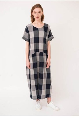 Beaumont Organic Filipa Jay Dress - XS / Navy/Flint - Blue/Grey
