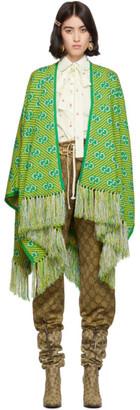 Gucci Green and Yellow Jacquard Stripe GG Poncho