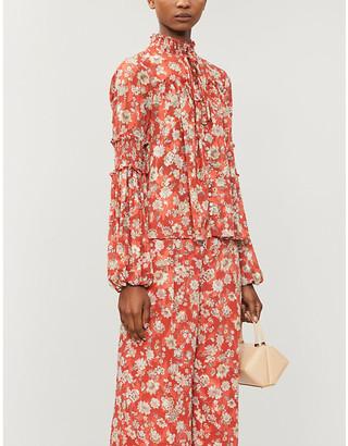 Alexis Zaria floral-print crepe shirt