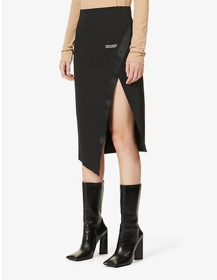 Off-White Logo-print side-split high-waist stretch-woven skirt