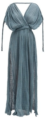 Kasia Kulenty - Aura High-slit Cotton-gauze Maxi Dress - Blue